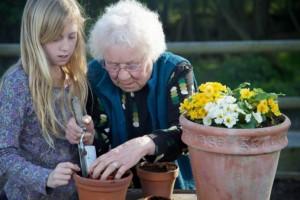 elderly with girl